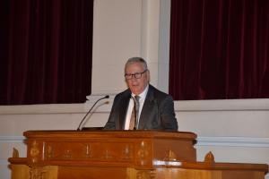 Ομιλία του Ομότιμου Καθηγητή Παναγιώτη Κορλίρα, με  θέμα την ακαδημαϊκή συμβολή του Εμμανουήλ Δρανδάκη